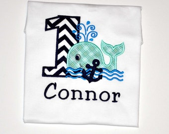 Personalized Whale Birthday Boy Outfit - First Birthday Navy Blue Whale & Anchor Body Suit or Shirt, Whale Party Cake Smash Ideas and Theme