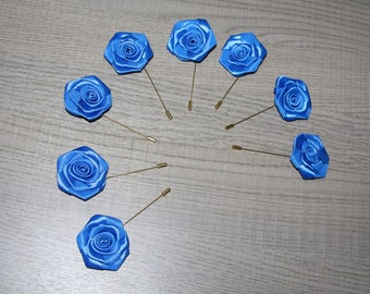 Rose lapel pin Mens lapel pin Navy blue pin Royal blue boutonniere Prom boutonniere Wedding boutonniere Blue boutonniere Set of 8 roses