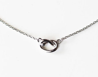 Love knot necklace, knot necklace, dainty knot necklace, gold knot necklace, silver knot necklace, bridesmaid jewelry/graduation gift