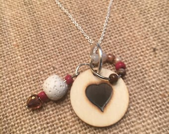 Wood Burned Heart Pendant Necklace with Lava Stone // Diffuser // Essential Oils // Beads // Silver Chain