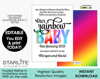 Rainbow Baby Pregnancy Announcement, EDITABLE INSTANT DOWNLOAD, Pregnancy Announcement after Loss, Rainbow Baby Announcement Card Printable