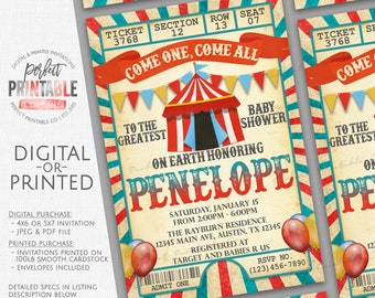 Carnival Baby Shower Invitation, Circus Baby Shower Invitation, Baby Sprinkle, Circus Tent, Circus Ticket, Red and Blue, It's a Boy #557