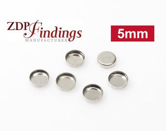 50pcs x Round 5mm Bezel Cups Setting, Sterling Silver 925 (RD50)