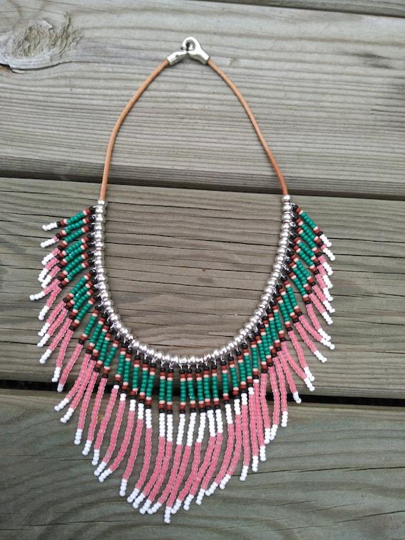 Etnic Necklaces, Native Necklace, Navajo Necklace, Fringe Necklace, Tribal Necklace