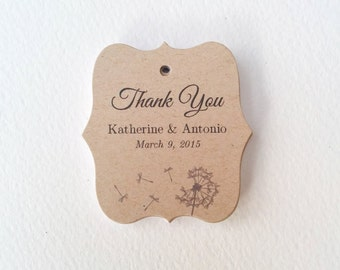 Customized Wedding Tags, Thank You Wedding Tags, Kraft Favor Tags, Wedding Gift Tag, Bridal Shower Tag, Rustic Woodland Wedding, Set of 25