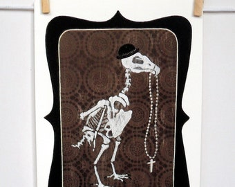 Giclee print by Andy McCready - 'PREY' - Limited edition, small, brown, skeleton, bird, retro. Prints by giltandenvy on Etsy.