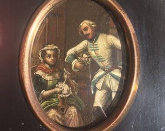 Antique Miniature Painting on canvas 1850, Gallant scene