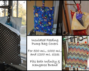 Feeding Pump Bag Covers - insulated, stylish, keep your feed cold - prints for grownups and kids