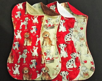 Variety of Dogs Burp Cloth Set in Terry and Flannel