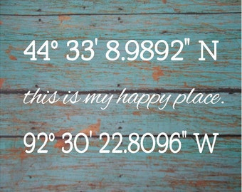 Happy Place Story Begins Longitude Latitude - Wood Sign or Canvas Wall Art - Wedding, Anniversary Gift, Housewarming, Wedding Gift
