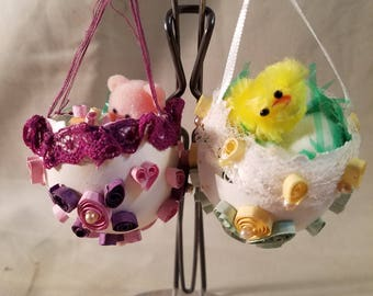 Vintage handmade quilling Easter egg ornament 1
