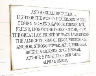 NAMES of GOD Modern Farmhouse Wall Decor Gift for Her Farmhouse Decor Farmhouse Sign Scripture Signs Bible Verses Home Decor