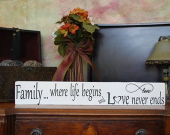 """MIX & MATCH Handcrafted Wooden Wall Sign, """"Family...where life begins and Love never ends"""" Approx. 4"""" x 24"""""""