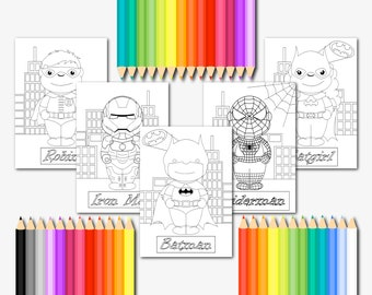 Set of 5 superhero printable coloring pages kids set of 5 coloring pages download superhero coloring pages printable childrens activity set