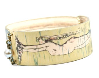 Art Deco Mermaid Shrink Plastic Bangle Bracelet Mermaid Bracelet Mermaid Bangle Plastic Mermaid Snap Bracelet