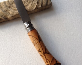 Wood Spirit Pocket Knife (Opinel No.7) Pyrography