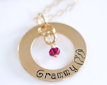 "Grammy Necklace - 1"" Hand Stamped Gold Filled Donut, Birthstone Crystals, Stamped Baby Feet, Sterling Silver"