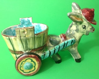 Ceramic hand painted  donkey and cart planter Made in Italy