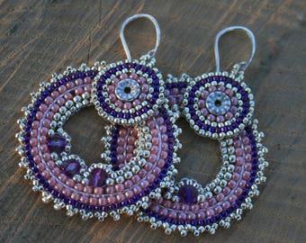 pink earrings, victorian earrings, beaded earrings, hoop earrings, seed beads earrings, beadwoven earrings, beadwork, dangle earrings