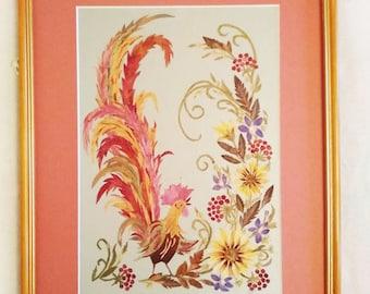 Rooster Original artwork Pressed flower art wall decor Dried flowers Herbarium Botanical art Framed flowers Oshibana