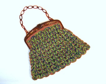 Vintage 1930s Rainbow Rayon Crochet Purse with Carved Celluloid Frame and Chain Strap