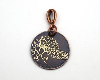 Small peacock pendant, round etched copper bird jewelry, 22mm