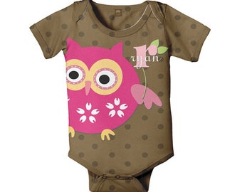 Baby Girl's Owl Romper, Personalized Girl's Brown Polka Dot Snap-Shirt, Monogrammed Owl Baby Outfit Shirt