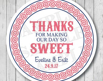 Thanks For Making Our Day So Sweet Stickers, Sweet Wedding Labels, Personalized Wedding Tags