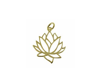Silver & Gold LOTUS Flower Pendant,925 Sterling Silver Pendant,Sacred Jewelry,Minimalist Jewelry,Lotus Pendant,Gold Pendant