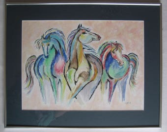 Watercolor 3 horses with mat and frame