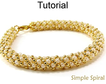 Russian Spiral Stitch Beading Pattern - Jewelry Making Tutorials - Beaded Bracelet Necklace - Simple Bead Patterns - Simple Spiral #4956