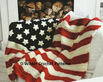 Crochet USA Star and Stripe blanket Crochet PDF Pattern Instant Download