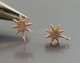 2 pcs / 1 pair shiny rose gold star CZ / Cubic Zirconia pave earrings, rose gold wedding earrings E959-BRG
