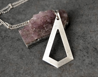 Triangle Necklace  Long Silver Necklace  Simple Necklace  Boho Necklace  Layering Necklace  Edgy Pendant Necklace