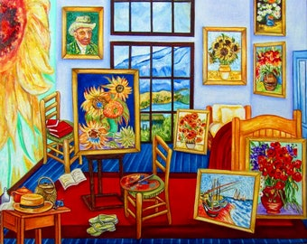 van Gogh Print, Vincent van Gogh, Wall Art Print, van Gogh Sunflowers, Home Decor, Handmade Art
