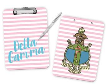DG Delta Gamma Striped Crest Sorority Clipboard