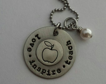 Love, Inspire, Teach custom hand stamped necklace with pearl