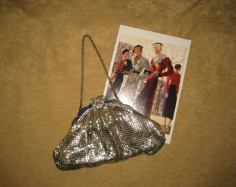 Whiting and David Mesh Purse Silver Vintage