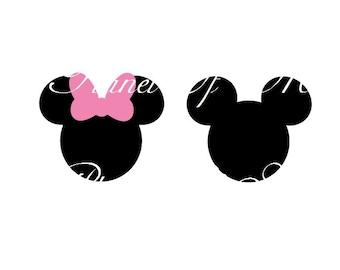 Mickey Mouse SVG File, Minnie Svg, Vinyl Cutting File, Minnie DXF File, Mickey Silhouette, Disney SVG, Digital File, Cricut, Disney Dxf