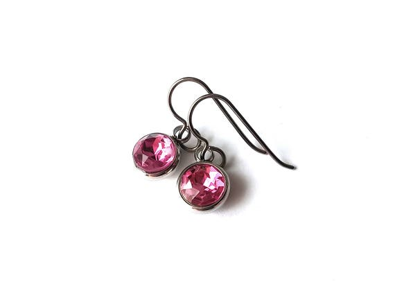 Pink rhinestone faceted dangle earrings - Pure titanium, stainless steel and rhinestone