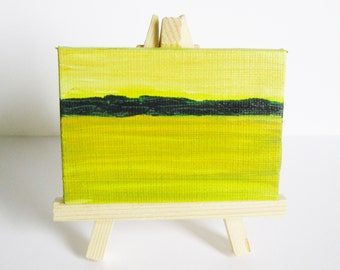 Abstract Landscape Painting Miniature Original Oil Painting with Easel 2.5 x 3.5 Gallery Wrap Canvas Yellow Sky Kathleen Daughan Art AL2