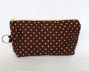 Zip Pouch - Brown and White Dots