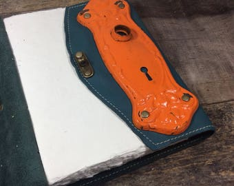 Spunky Turquoise Leather Journal with Old Door Plate