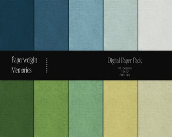 Cool & Fresh Collection: Plain - Digital Papers - Instant download - blue, green textured paper - Commercial use