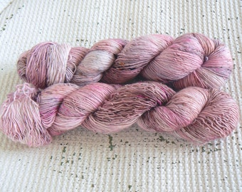 Tiggywinkle - Hand Dyed Speckled Yarn - Single Ply - 100% Superwash Merino - Pink Brown Grey