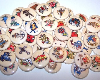 "Old School Tattoo Retro Tattoos Assorted Set of 10 Buttons 1"" or 1.5"" Pin Backs or 1"" Magnets Party Favors American Traditional Flash Tattoo"
