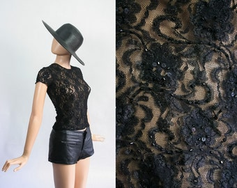 Vintage 90s Lace Sheer Stretch Mesh Sequin Shirt / Goth Grunge Club Kid / 1990s Stretchy Fitted Top / Sequin Blouse / Party / Extra Small