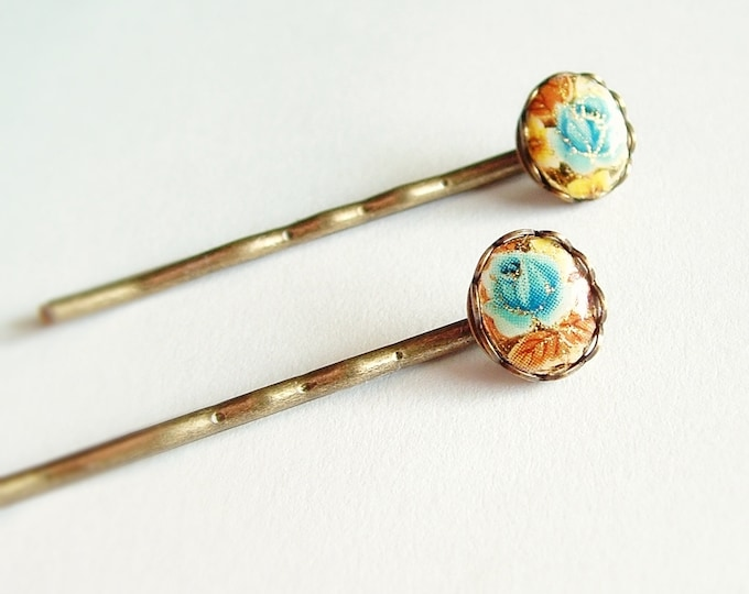 Rose Cameo Hair Pins Vintage Cameos Antiqued Brass Victorian Hair Pins Blue Yellow Bobby Pins Floral Accessories