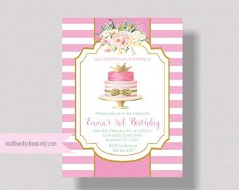 GIRLS BIRTHDAY INVITATION Pink and Gold Princess Birthday Invitation   Watercolor Floral Invitation First Birthday Shabby Chic Boho Invite