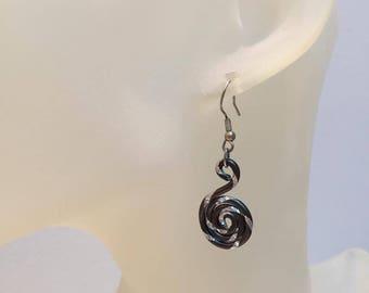 Black Aluminum spiral silver wire earrings